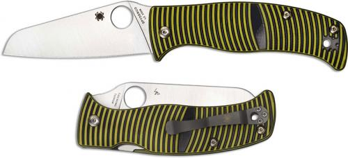 Spyderco C217GPSF Caribbean Rust Proof Sheepfoot Blade Yellow and Black G10 Compression Lock Folder