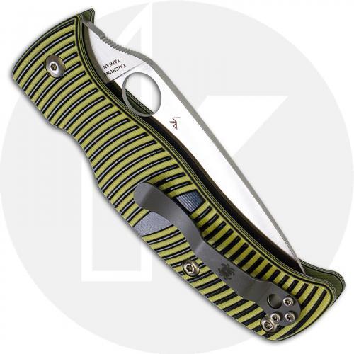 Spyderco C217GS Caribbean Rust Proof Serrated Leaf Blade Yellow and Black G10 Compression Lock Folder