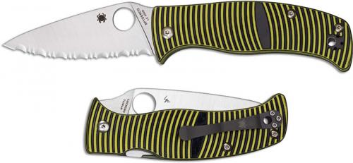 Spyderco C217GS Caribbean Rust Proof Serrated Leaf Blade Green and Black G10 Compression Lock Folding Knife