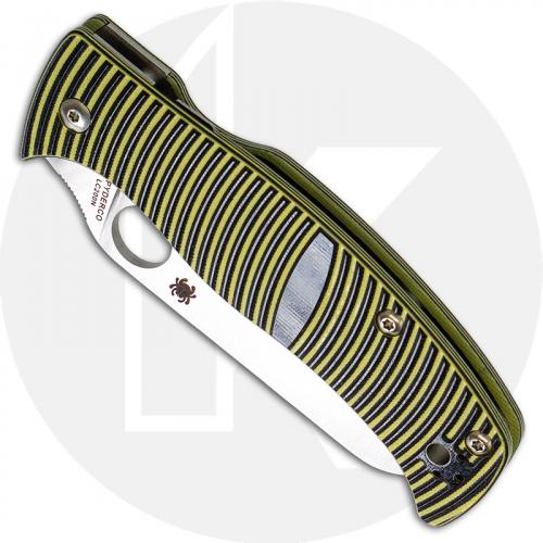 Spyderco C217GSSF Caribbean Rust Proof Serrated Sheepfoot Blade Yellow and Black G10 Compression Lock Folder