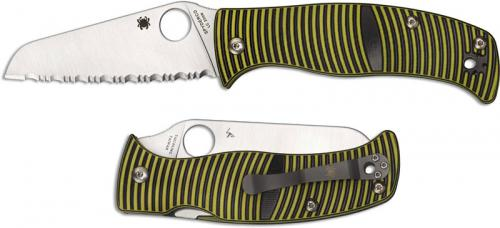 Spyderco C217GSSF Caribbean Rust Proof Serrated Sheepfoot Blade Green and Black G10 Compression Lock Folding Knife