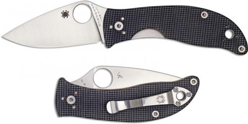 Spyderco C222GPGY Alcyone Knife EDC Linerlock Folding Knife Drop Point with Gray G10 Handle
