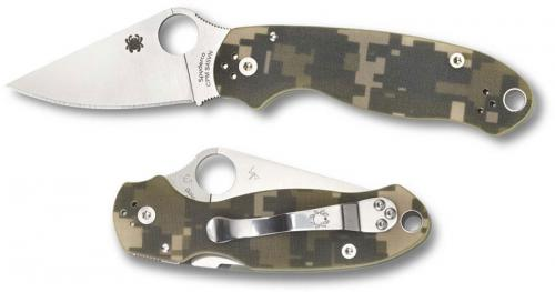 Spyderco C223GPCMO Para 3 Folding Knife Compression Lock Satin Blade Camo G10 USA Made