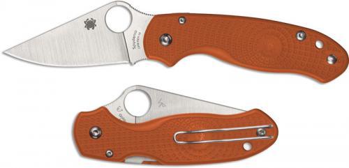 Spyderco Para 3 Lightweight C223PBORE - REX 45 Blade - Burnt Orange FRN Handle - Sprint Run - USA Made