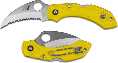Spyderco C28SYL2HB Dragonfly 2 Salt Hawkbill Knife Serrated Rust Free Blade Yellow FRN Handle