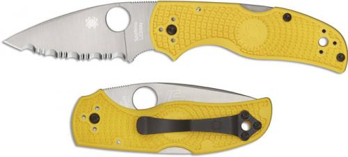 Spyderco Native Salt Knife C41SYL5 Rust Proof Serrated Leaf Blade Yellow FRN Handle USA Made