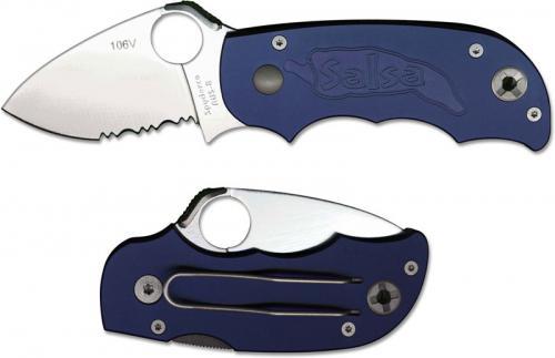 Spyderco Salsa Knife - C71BLPS - Part Serrated - Blue Aluminum Handle - Discontinued Item - Serial # - BNIB - Circa 2002