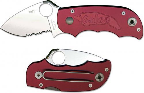 Spyderco Salsa Knife - C71CBPS - Part Serrated - Cranberry Aluminum Handle - Discontinued Item - Serial # - BNIB - Circa 2003