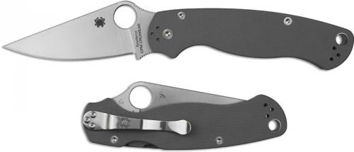 Spyderco C81GPGY2 Para Military 2 Knife, Sprint Run CPM CRUWEAR Blade with Gray G10 Handle