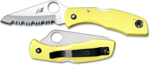 Spyderco Knives: Spyderco Salt I Knife, Serrated Blade with Yellow Handle, SP-C88SYL