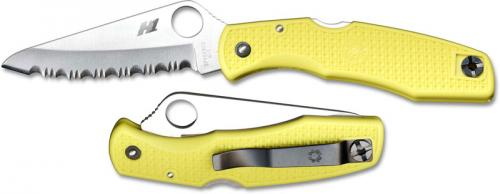 Spyderco Pacific Salt Knife, Yellow Handle Serrated, SP-C91SYL