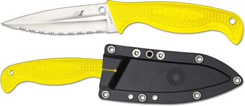 Spyderco FB40SYL Fish Hunter Knife, 4.39 Inch Serrated Rustproof H-1 Steel Fixed Blade, Yellow FRN Handle