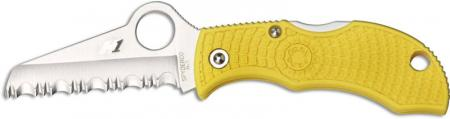 Spyderco MYLS Manbug Salt Lightweight Knife, 1.9 Inch Serrated Rustproof H-1 Steel Sheepfoot Blade, Yellow FRN Handle