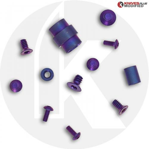 Titanium Hardware Replacement Screw Set for Spyderco Para Military 2 Knife - High Voltage Chameleon Anodize
