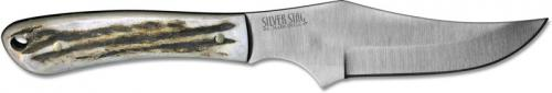 Silver Stag BS40 Buffalo Slab D2 Upswept Fixed Blade Knife with Antler Slab Handle USA Made
