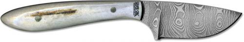 Silver Stag DCC20 Casper Caper Damascus Drop Point Fixed Blade with Antler Slab Handle USA Made