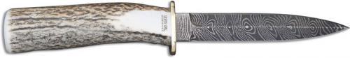 Silver Stag Damascus Dagger, Elk Stick Antler, SS-DDG50
