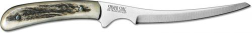 Silver Stag FG425 Fish and Gamer D2 Upswept Fixed Blade Knife with Antler Slab Handle USA Made