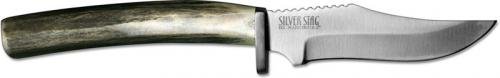 Silver Stag MS425ES Mule Stag D2 Upswept Fixed Blade Knife with Elk Stick Antler Handle USA Made