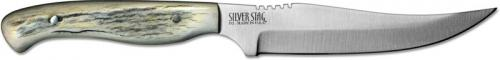 Silver Stag PB425 Pro Bone D2 Upswept Fixed Blade Knife with Antler Slab Handle USA Made
