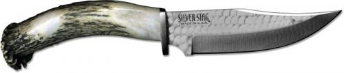 Silver Stag SSH60 Hunter Tool Steel Upswept Fixed Blade Knife with Antler Crown Handle USA Made
