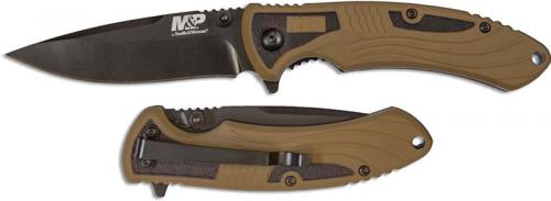 Smith and Wesson M&P M2.0 Ultra Glide Flipper Knife Black Drop Point Flat Dark Earth Rubberized Aluminum 1085902