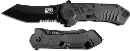 Smith and Wesson Knives: S&W MP2 Knife, Black Part Serrated, SW-MP2BS
