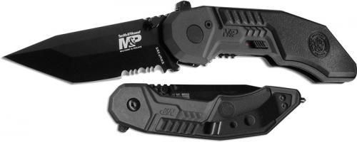 Smith and Wesson Knives: S&W MP3 Knife, Black Part Serrated, SW-MP3BS