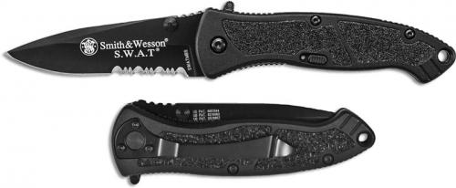 Smith and Wesson SWAT Knife, Medium Black Part Serrated, SW-SWATMBS