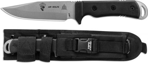 TOPS Knives Air Wolfe Knife AIR-01 - Tactical Gray 1095 Clip Point - Black G10