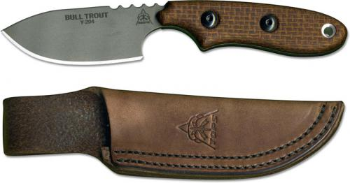 TOPS Knives Bull Trout Knife BLTT-01 - Martin Murillo EDC - Tumble Finished 154CM Stainless Steel - Brown Burlap Micarta - USA Made