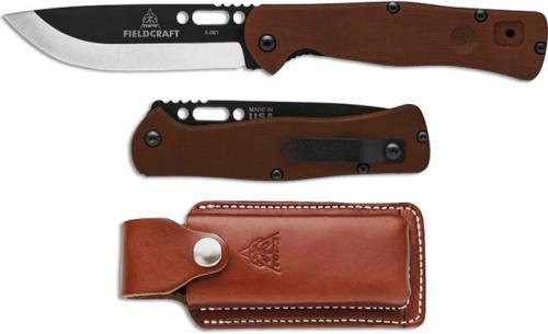 TOPS Knives Fieldcraft Folder FCF-01 - Black Cerakote Drop Point - Tan Canvas Micarta Folding Knife