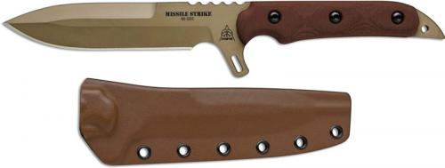TOPS Knives Missile Strike MISS-01 - Kelly McCulley - Coyote Tan 1095 Spear Point - Tan Micarta