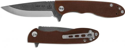 TOPS Knives Mini Scandi Folder MSF 4.0 - Tumble Finish Drop Point - Tan Canvas Micarta Flipper Knife