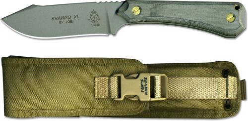 TOPS Knives Shango XL Knife SHGO-XL - Tactical Gray 440C Hunter's Point - Black Linen Micarta