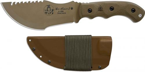 TOPS Knives Tom Brown Tracker 1 TBT01-TAN - Coyote Tan 1095 Steel Blade - Green Micarta