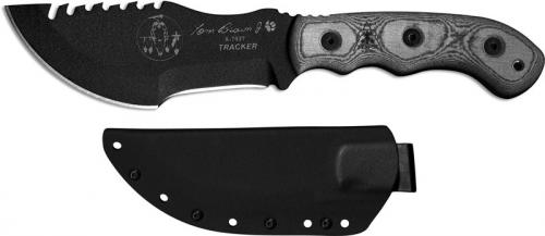 TOPS Knives Tom Brown Tracker 2 TBT-020 - Black Traction Coated 1095 Steel Blade - Black Linen Micarta