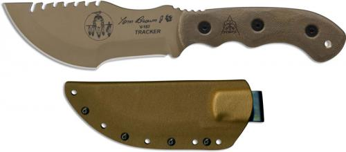 TOPS Knives Tom Brown Tracker 2 TBT02-TAN - Coyote Tan 1095 Steel Blade - Green Micarta
