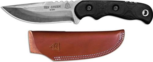 TOPS Knives Tex Creek Knife TEX-4 - Leo Espinoza - Black River Wash 1095 Steel Hunters Point - Black Micarta