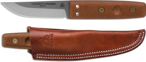 TOPS Knives Tanimboca Puukko TPUK-01 - Tumble Finish 1095 Steel Blade - Tan Canvas Micarta