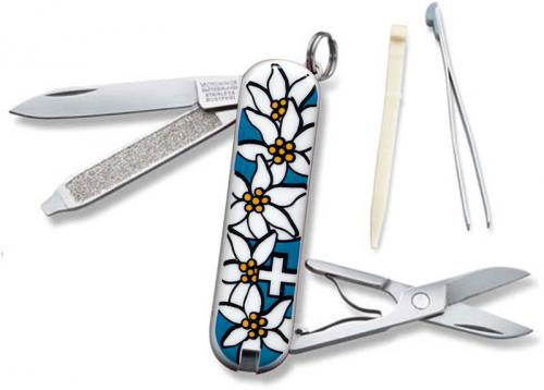 Victorinox Knives: Victorinox Classic Edelweiss Knife, Blue, VN-54721