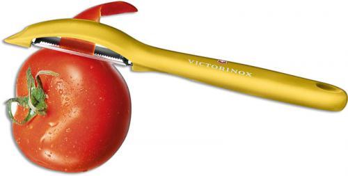 Victorinox 7.6075.8 Universal Peeler Pivoting Serrated Head Yellow Polypropylene Frame