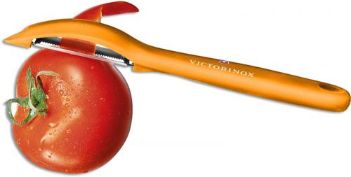 Victorinox 7.6075.9 Universal Peeler Pivoting Serrated Head Orange Polypropylene Frame