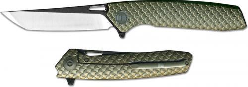 We Knife Company 604Q EDC Frame Lock Flipper Folding Knife 2 Tone Tanto Bronze Ti Handle