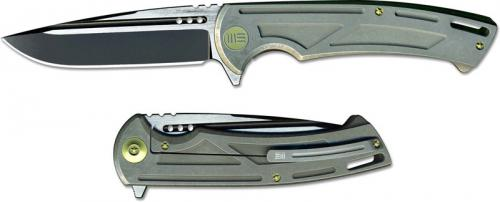 We Knife Company 614E EDC Frame Lock Flipper Folding Knife 2 Tone Drop Point Gray Ti Handle