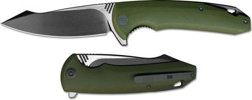 We Knife Company 617C EDC Liner Lock Flipper Folding Knife 2 Tone Blade Green G10 Handle