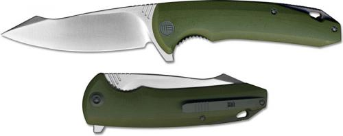 We Knife Company 617D EDC Liner Lock Flipper Folding Knife Satin Blade Green G10 Handle