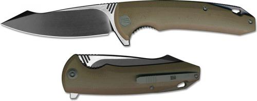 We Knife Company 617E EDC Liner Lock Flipper Folding Knife 2 Tone Blade Tan G10 Handle