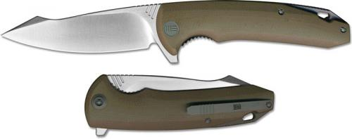 We Knife Company 617F EDC Liner Lock Flipper Folding Knife Satin Blade Tan G10 Handle