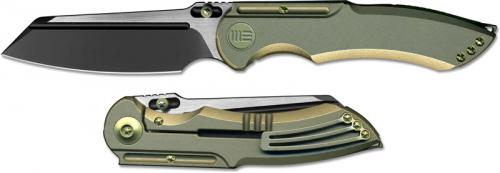 WE Knife 620I EDC Black and Satin Clip Point Blade Bronze Ti Frame Lock Folder